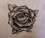 Rose with eye tattoo design 2