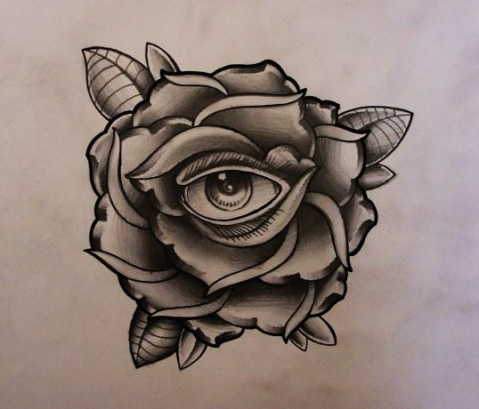 Rose with eye tattoo design 2 by thirteen7s on deviantart for Rose flower tattoo designs