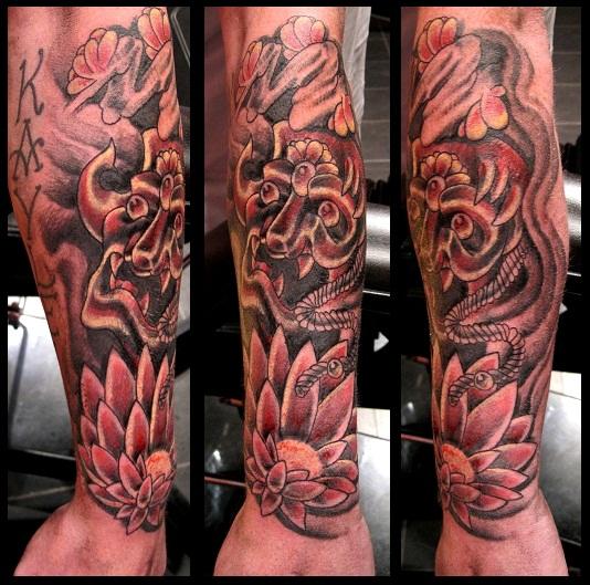 Japanese Hanya Mask And Lotus Flower Tattoo By Thirteen7s On Deviantart