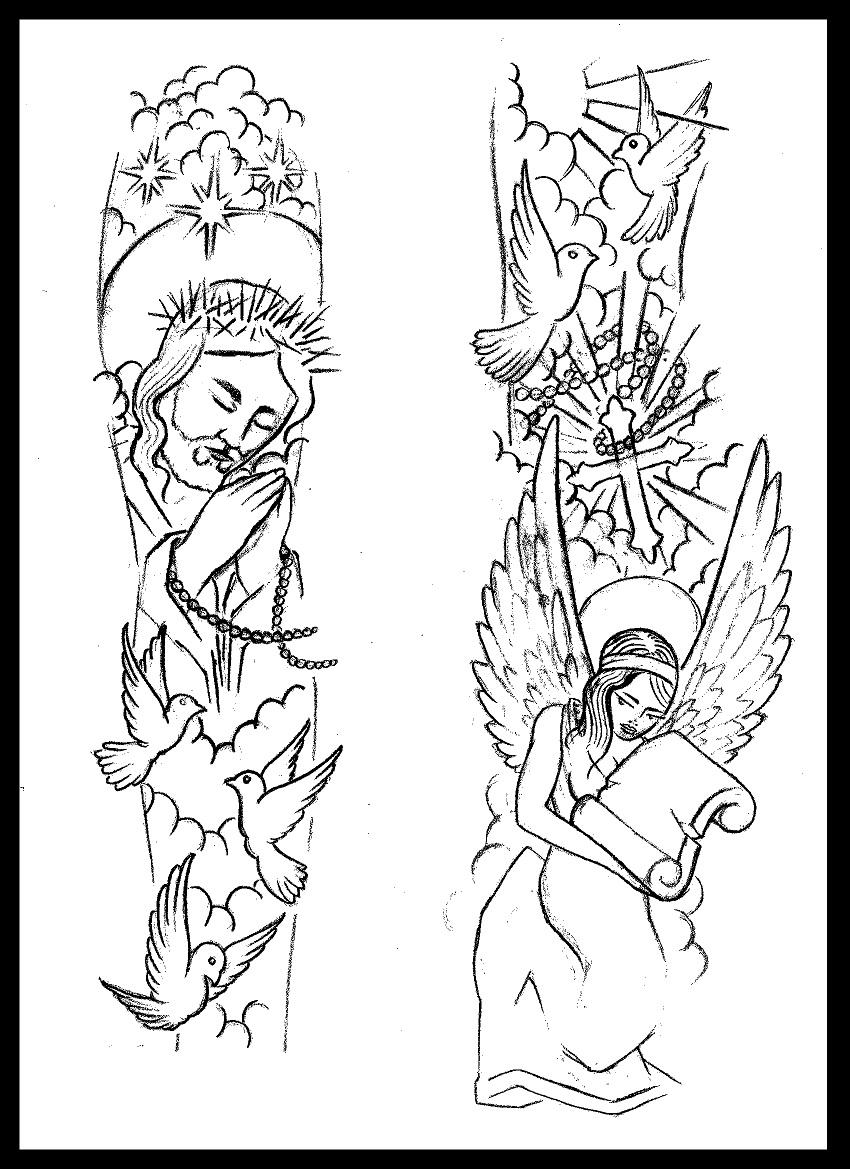 Religious sleeve tattoo design