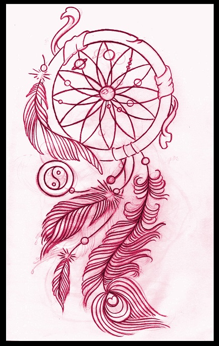 Dreamcatcher tattoo design by thirteen7s on deviantart for Dreamcatcher tattoo template