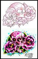 old school candy skull and roses tattoo design by thirteen7s