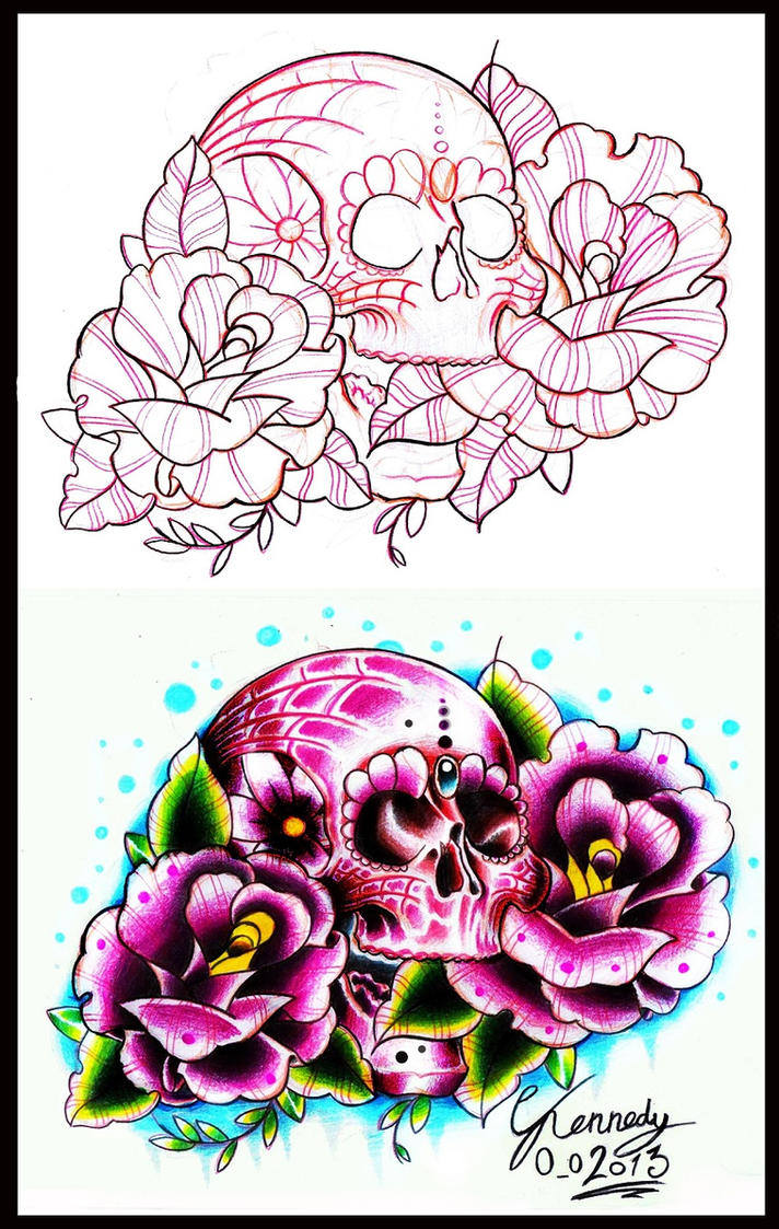 old school candy skull and roses tattoo design by thirteen7s on deviantart. Black Bedroom Furniture Sets. Home Design Ideas