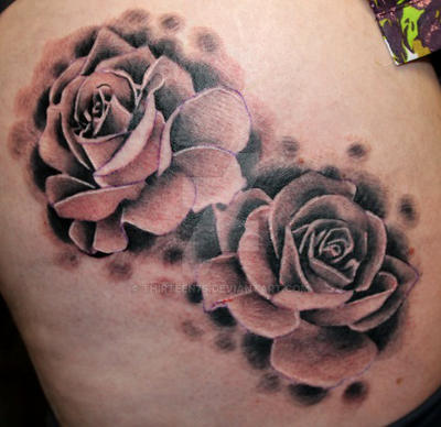 Black And Grey Roses Tattoo By Thirteen7s On Deviantart