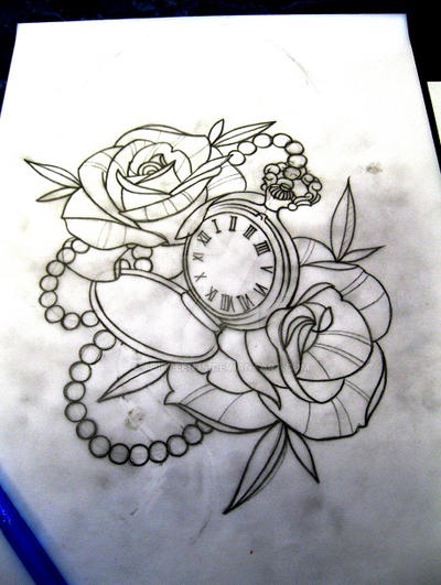 Pocket Watch And Roses Traditional Tattoo Design 465834291 on Cat Mask Coloring Page 2