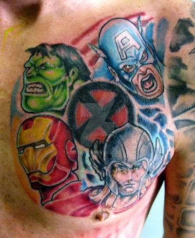 Marvel chest piece tattoo (thors still scabby) by thirteen7s on ...