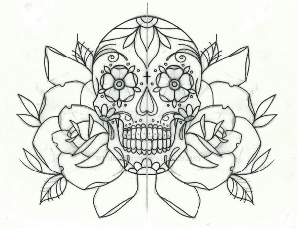 Sugar Candy Skull And Roses Tattoo Design By Thirteen7s On