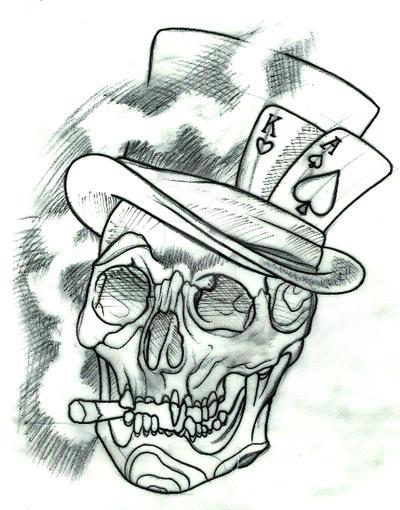 Skull With Tophat Tattoo Design By Thirteen7s On Deviantart