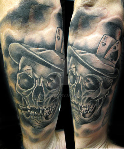 Skull With Tophat Tattoo By Thirteen7s On Deviantart