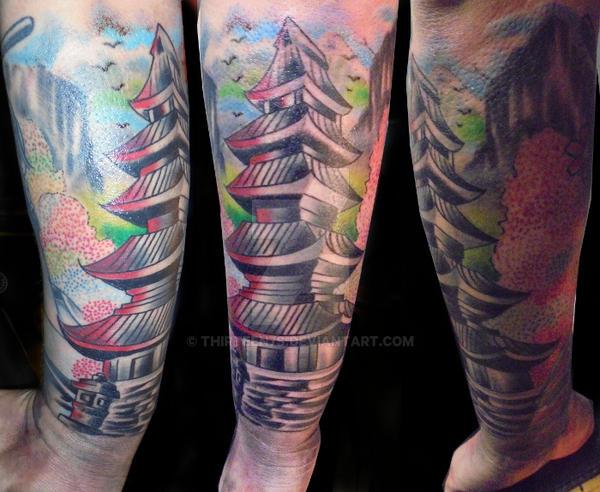 Tattoo Design Bild: Pagoda Tattoo By Thirteen7s On DeviantArt
