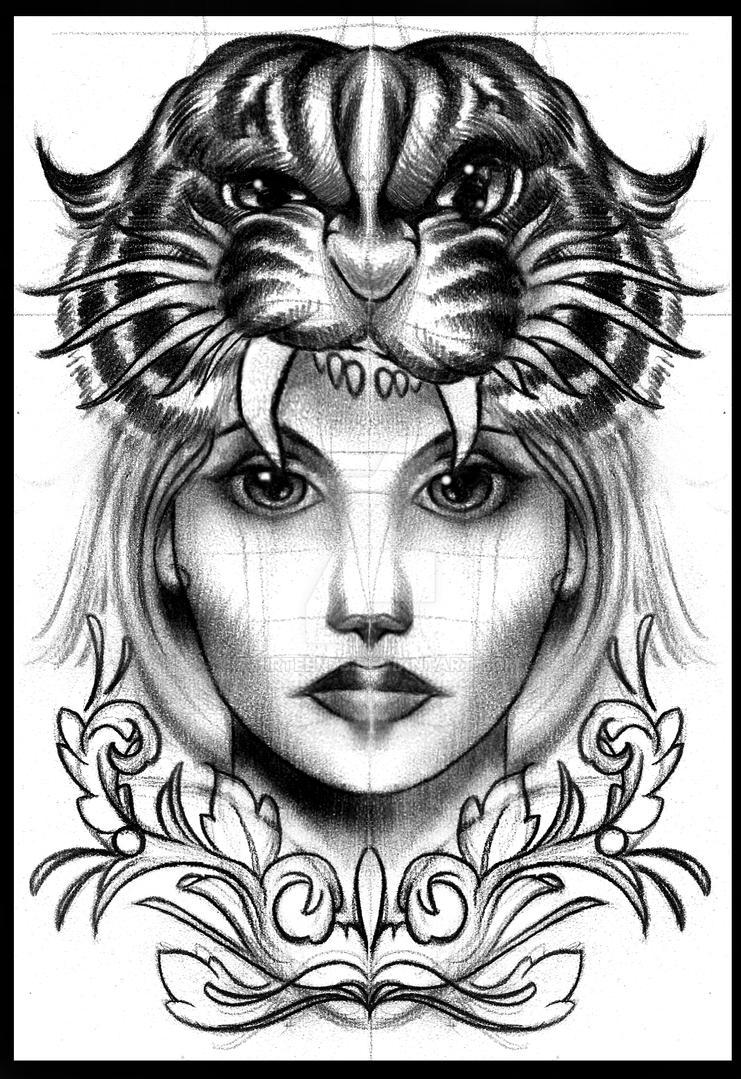 Tiger head girl tattoo design by thirteen7s on deviantart for Tiger tattoo for girl