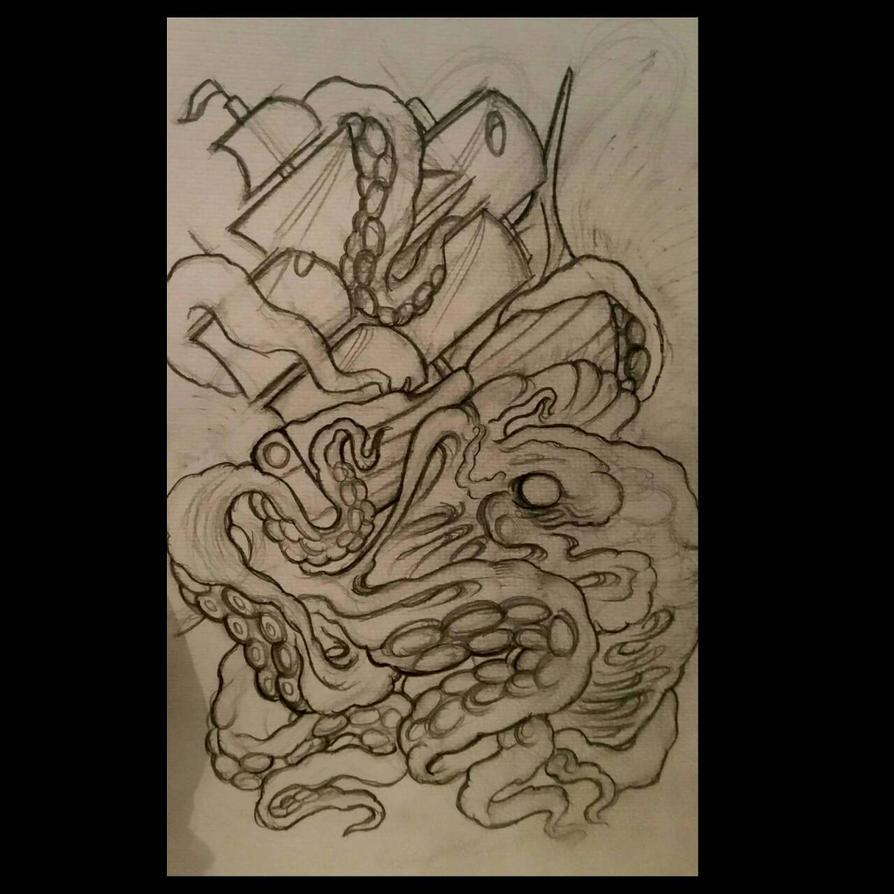 kraken tattoo design by thirteen7s on DeviantArt
