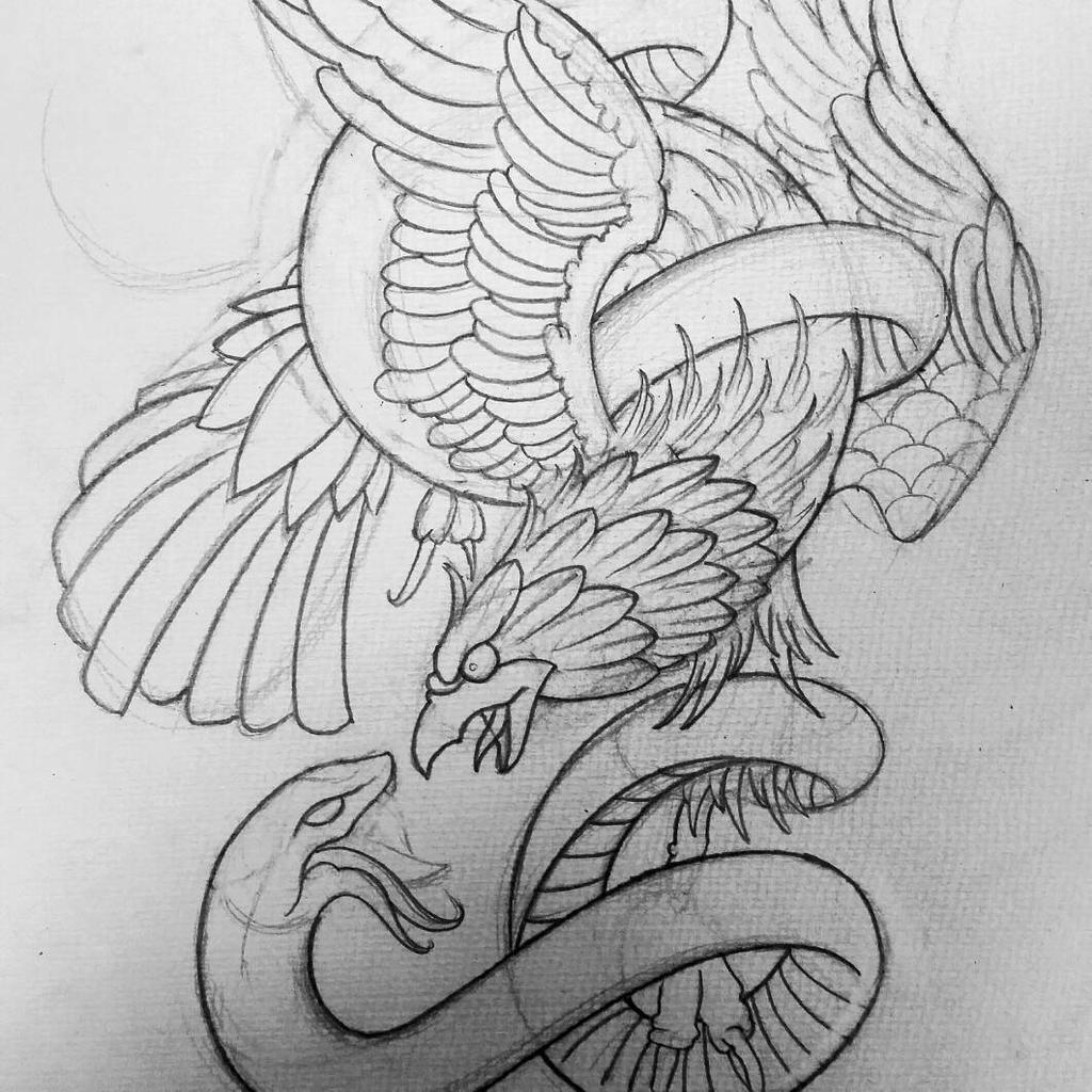 Snake Tattoo Line Drawing : Eagle snake tattoo design by thirteen s on deviantart