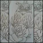 owl and rose tattoo design