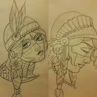 native indian girl tattoo designs