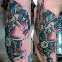 native indian girl tattoo