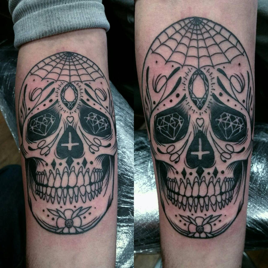 sugar skull tattoo pen and ink style by thirteen7s