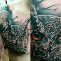 owl and moon chest tattoo