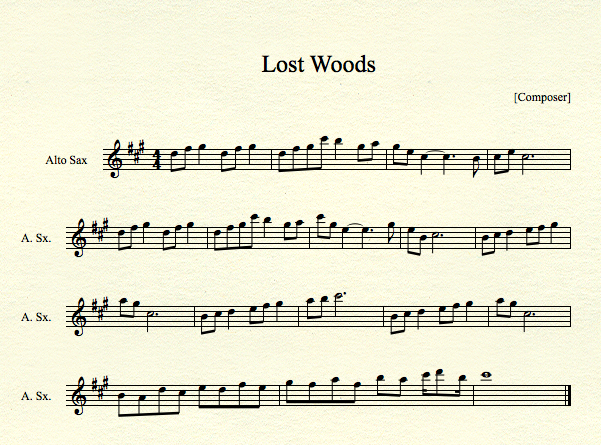 Piano u00bb Piano Tabs Zelda Lost Woods - Music Sheets, Tablature, Chords and Lyrics