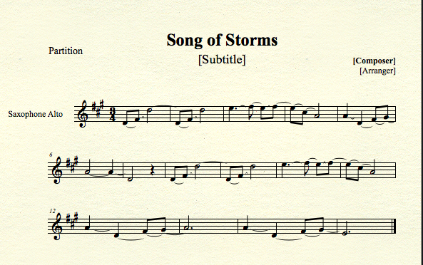 Song of storms for alto sax by mrconan42 on deviantart