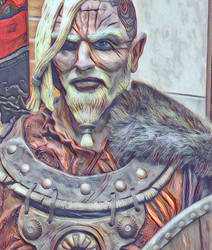 Viking Warchief pencil colored by MacRoth