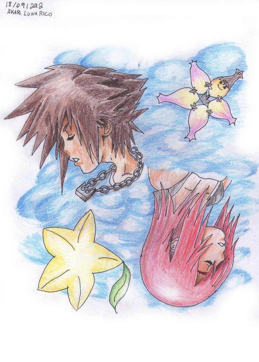 Kingdom Hearts Sora Kairi by AkariLunaRico