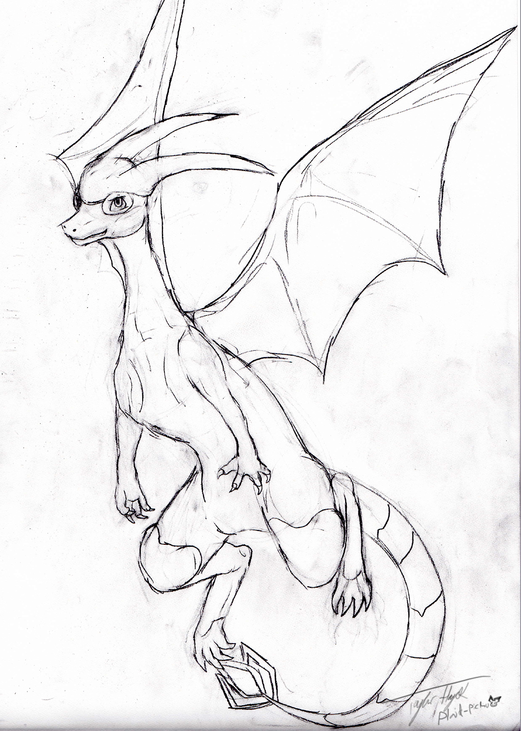 Flygon sketch lineart for zero by plaid pichu on deviantart for Flygon coloring pages