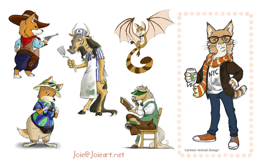 Cartoon Animal Character Design : Animal characters by joieart on deviantart