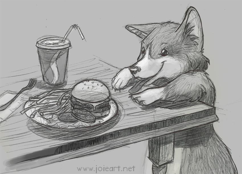 Corgi Snack Time by JoieArt