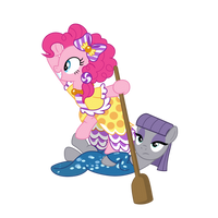 Pinkie and Maud - Maud is best boat! - (cleaned) by PonyHD