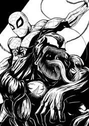 Spiderman and Venom by sandertulk