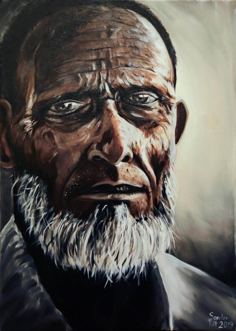 Old man painting by sandertulk