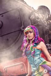 Steampunk / Burlesque Rainbow Dash cosplay by BabyGirlFallenAngel