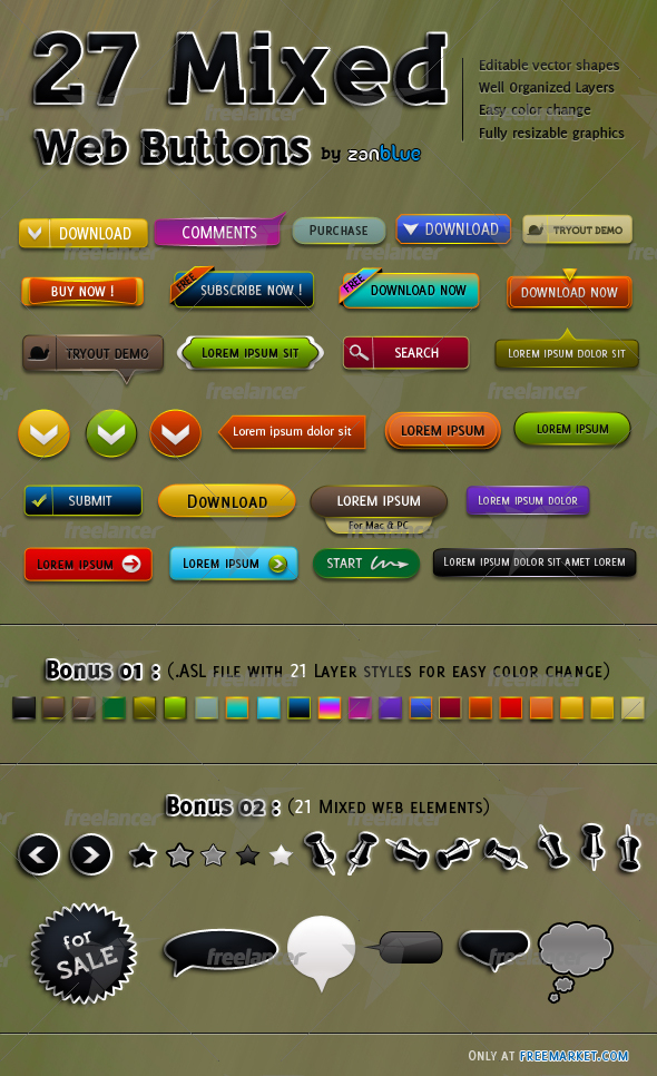 27 Mixed Small Web Buttons