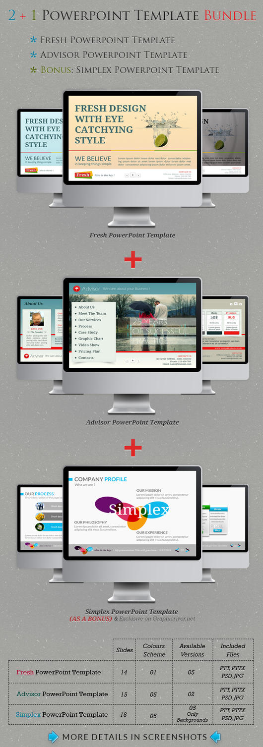 2+1 Powerpoint Template Bundle by kh2838