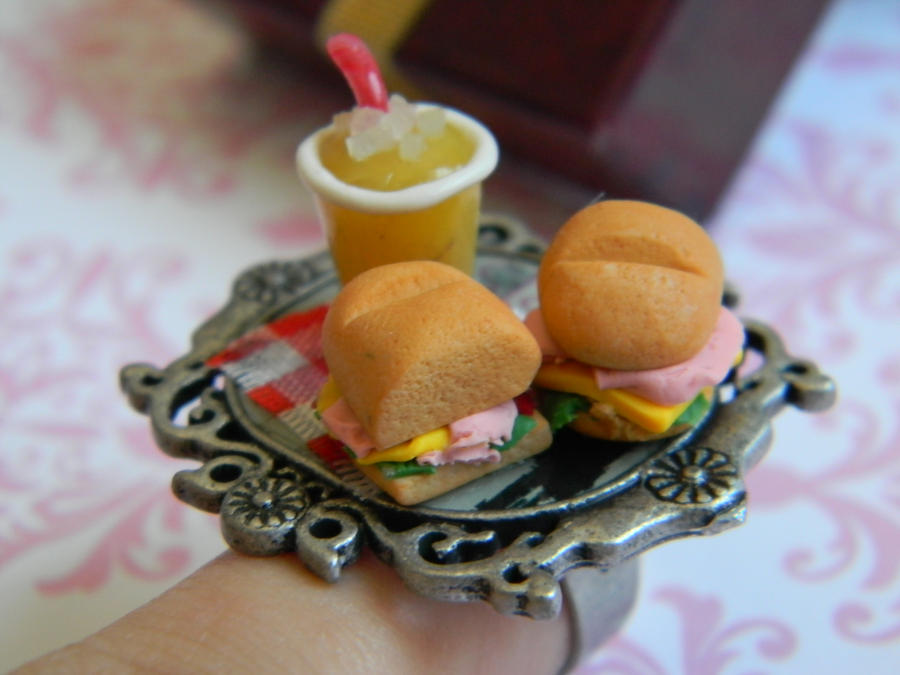 Mini Sandwichs And Lemonade Platter Ring by ThePetiteShop
