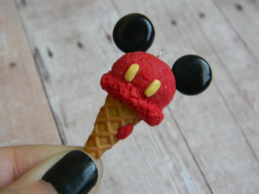 Red Mickey Mouse Ice Cream Cone Charm Re-ment by ThePetiteShop