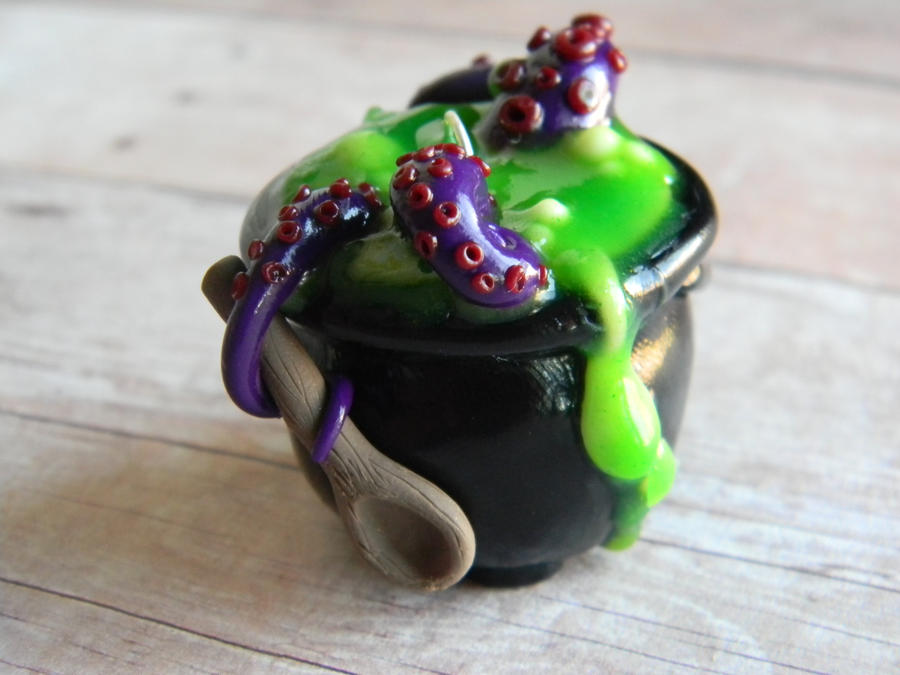 Witches Brew Cauldron-Polymer Clay-Halloween by ThePetiteShop