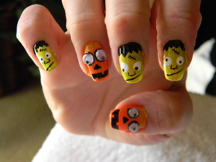 Frankenstein And Pumpkin Nail Design Halloween By Thepetiteshop On