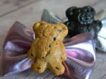 Teddy Graham Bow Hair Clips-Polymer Clay-Cabochons