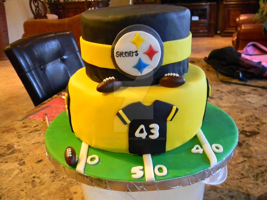 Steelers Birthday CakeFondantHandmadeFootball by ThePetiteShop