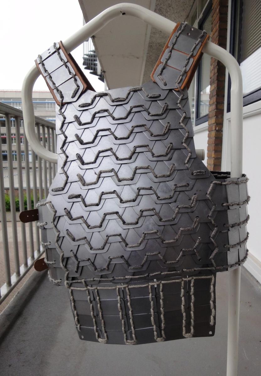 Steel hexagon plate lamellar armour WIP by Armourdillo