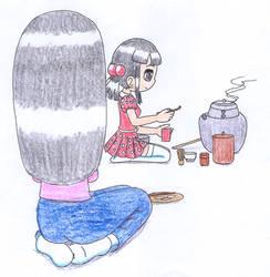 Evelyn makes green tea by macaustar