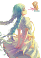 Girl with Plaited Blue Hair (Anime Render) by ditzydaffy