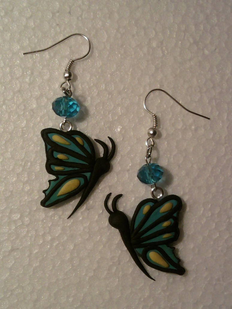 Earring with butterfly fimo by bimbalove81