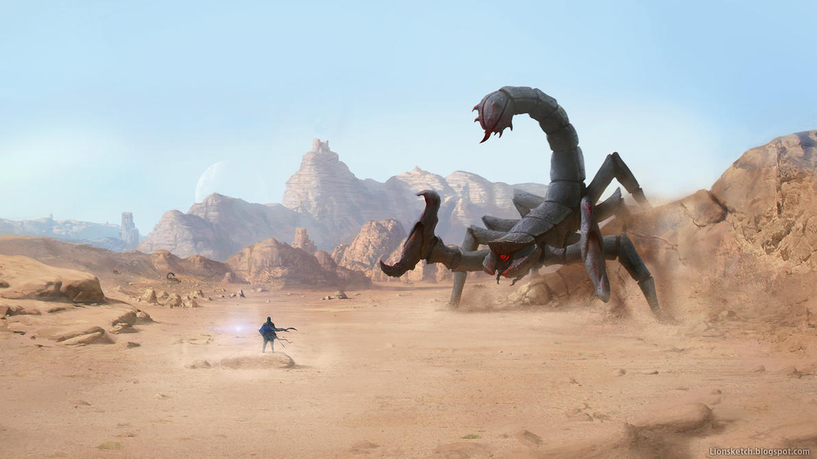 Link vs Giant Scorpion (Zelda revision) by Lionsketch
