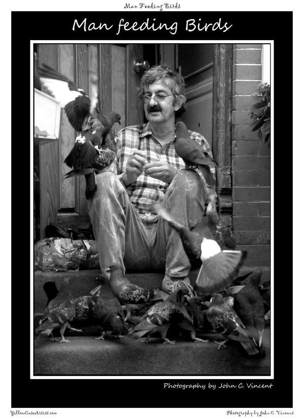 Man feeding birds by yellowcaseartist