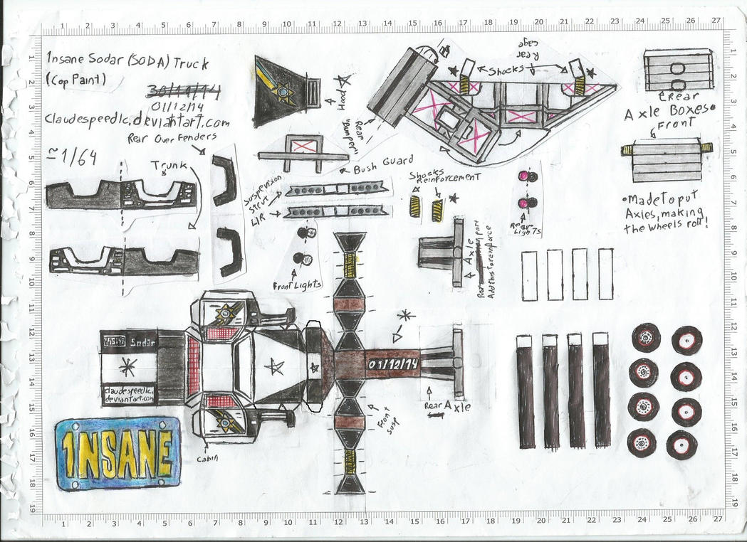 Papercraft V8 Engine Diagram Wiring Diagrams Parts Names 1nsane Sodar Soda Truck Paper Craft Template By With Labels Honda