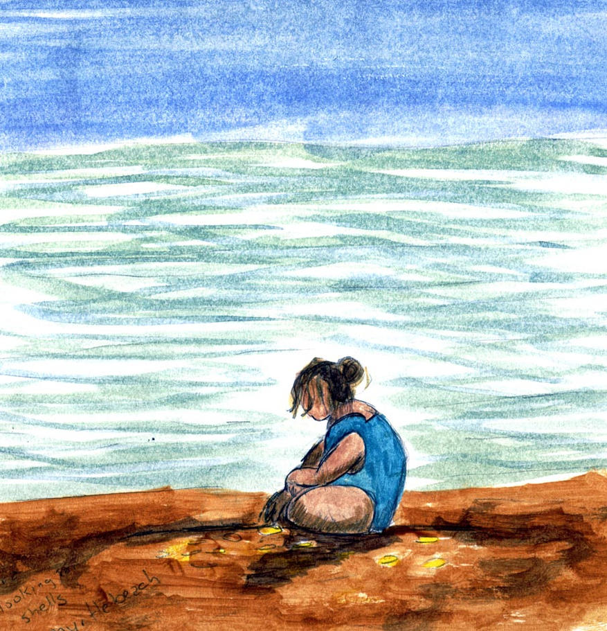 Girl collecting shells by GentlestGiant