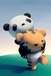 Tiger and Panda by hyetou